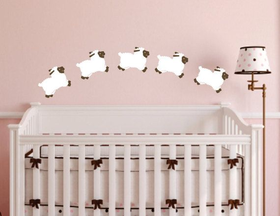 Sheep wall decal set of 5 Baby Girl Nursery by FairyDustDecals