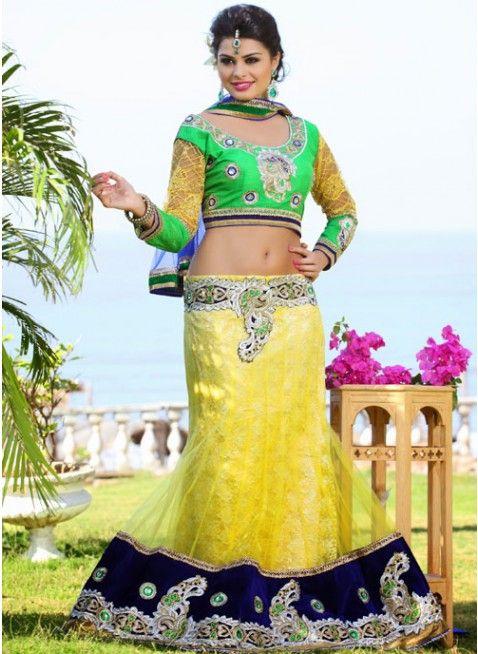 Aesthetic Yellow Color Net Based #Lehenga #Choli