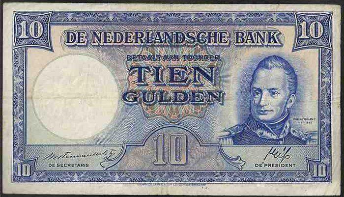 10 gulden Nederland, 1947 - 1950, Willem I, eerste Koning der Nederlanden.