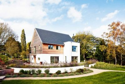 Image result for wood timber clad self build house