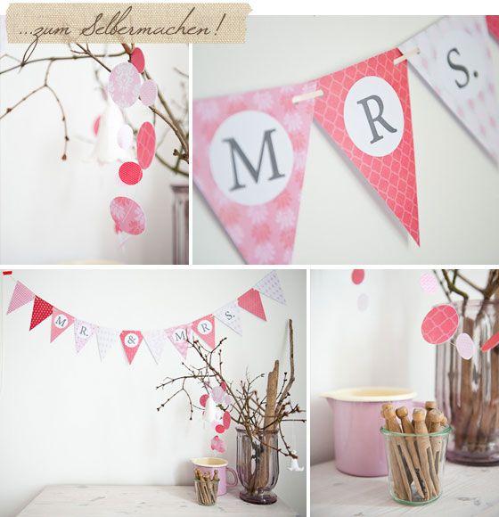 Selbst ausdrucken und basteln: Eine Hochzeitsgirlande zum Download | Hochzeitsblog Fräulein K. Sagt Ja