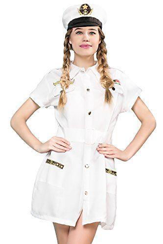 Women's Sailor Cutie Captain Sea Skipper Dress Up & Role Play Halloween Costume (X-Small/Small) #Sailor Halloween Costumes