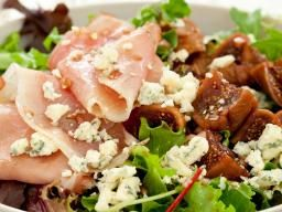 Arugala salad w/prosciutto, walnuts, parmesan and figs - Recipe from Valley Fig Growers (luscious figs from CA)