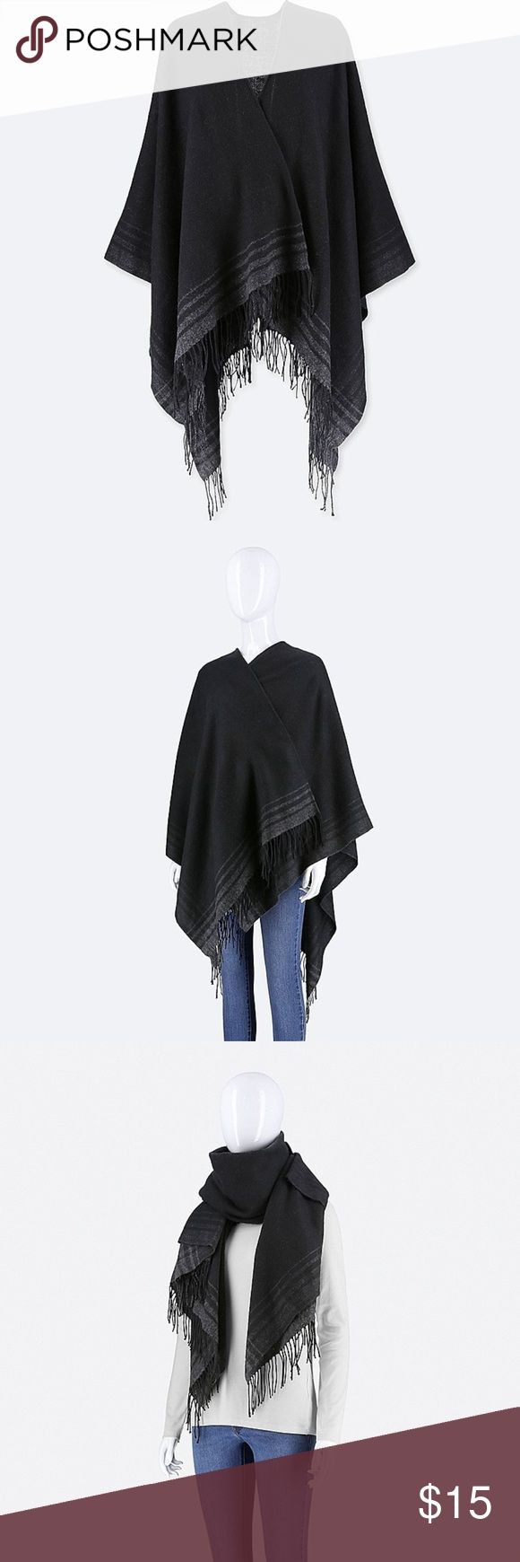 Black Uniqlo Frame Print 2-Way Stole/Poncho Brand new with tags. An elegant wool-blend stole that can also be worn as a wrap or poncho. Large size lets you wear it as a stole or wrap.   -Black  -One Size  -90% Acrylic, 10% Wool  -Imported Uniqlo Accessories Scarves & Wraps