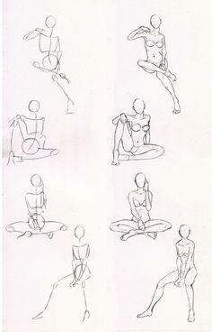 Poses. Sketches 29 - Woman sitting practice by Azizla.deviantart.com on @deviantART