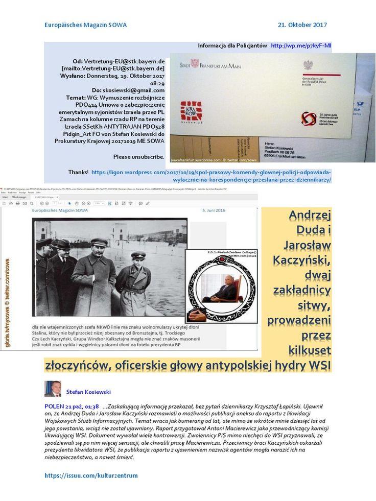 Andrzej Duda i Jaroslaw Kaczynski, dwaj zakladnicy sitwy prowadzeni przez kilkuset zloczynców, oficerskie glowy antypolskiej hydry WSI https://www.facebook.com/groups/Prawdziwi.Narodowcy/permalink/1860106694030025/   POLISH CHARLIE PDO259 Wymuszenie Rozbojnicze PDO414 20171021 ME SOWA radio: https://gloria.tv/audio/Adhmf1YjJnQ61VTPMNAbezAxb