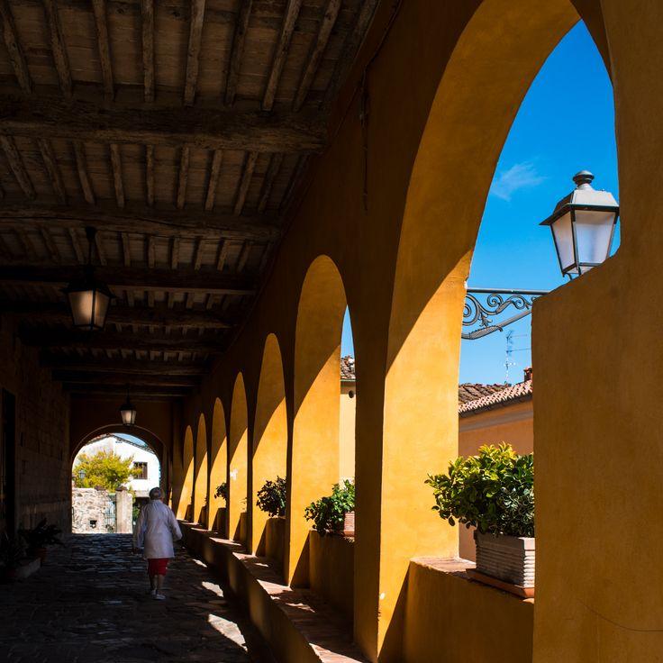 La foto è stata scattata sotto il portico di Serravalle Alto, nel pieno sole del primo pomeriggio del 21 maggio 2016.