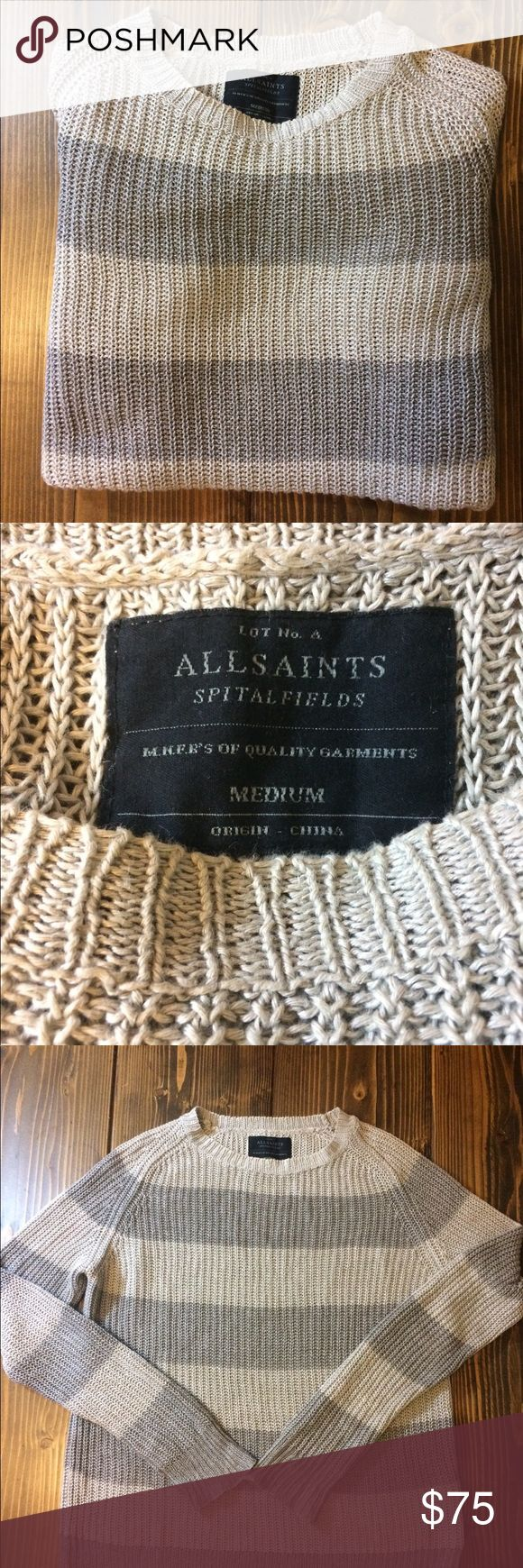 ALL SAINTS SPITALFIELDS SWEATER ALL SAINTS GREY Striped Sweater. In Great preloved condition. All Saints Sweaters Crewneck