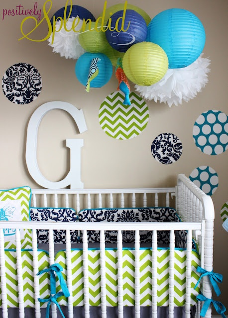 blue/green nursery pom pom mobile above crib. THe tissue paper pom poms were hard to do with cheap tissue paper , would recommend the more expensive stuff but it looks cool above the crib.: Skirts Tutorials, Decals Tutorials, Custom Fabrics, Wall Decals, Nurseries Beds, Home Decor, Cribs Skirts, Fabrics Wall, Crib Skirts