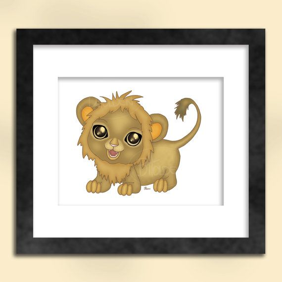 Baby Lion Art Print by SapphireMoonArt on Etsy