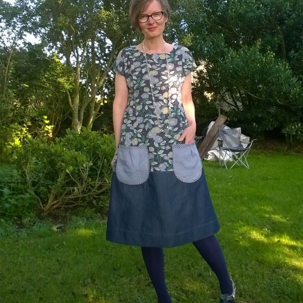 #DottieAngel frock #simplicity1080 with neck and shoulders from #mayadress pattern by @marillawalker .  Simplicity size xs Maya size 2. Top is fine cotton with slight seersucker, bottom is #merchantandmills 5oz denim, pockets are repurposed linen camisole.  lots of b&w gingham bias binding