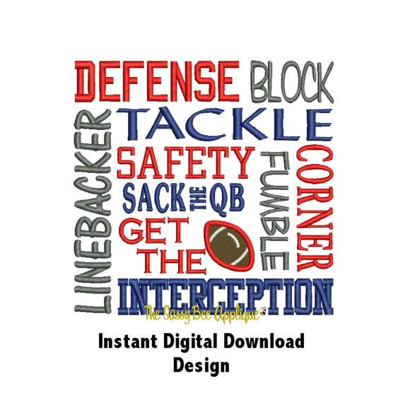 DD FOOTBALL DEFENSE Block Saying - Machine Embroidery Design - 2 Sizes Included - Great for Totes or Football Towels - Instant Download on Etsy, $4.00