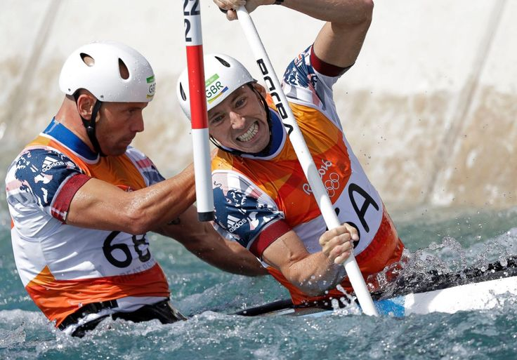 Richard Hounslow and David Florence of Great Britain compete during the canoe…