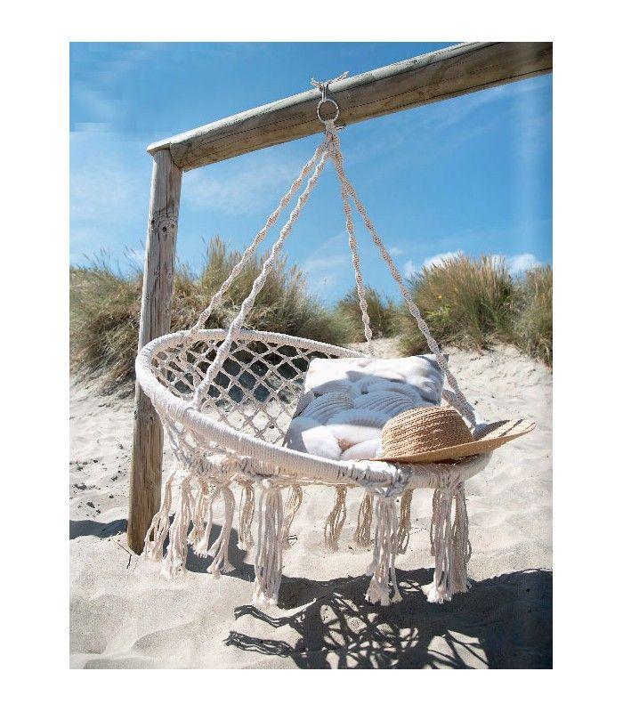 Chaise hamac chaise suspendue relaxante en corde ivoire for Chaise suspendue