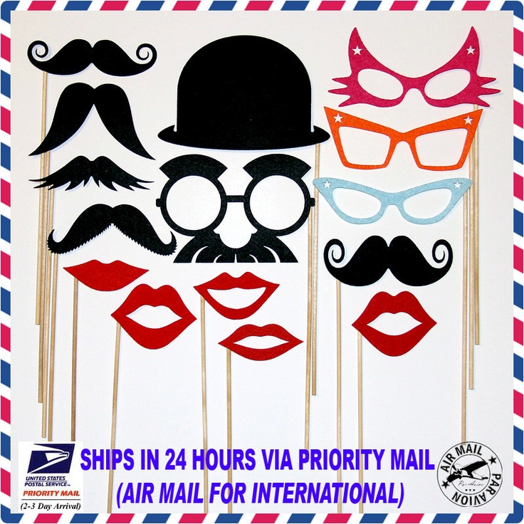 Photo Booth Party Props Mustache On A Stick  Fun Weddings, Birthdays -  Photography Prop Mask -Lips, Derby Hat And Retro Colored Eye Glasses. $28.99, via Etsy.