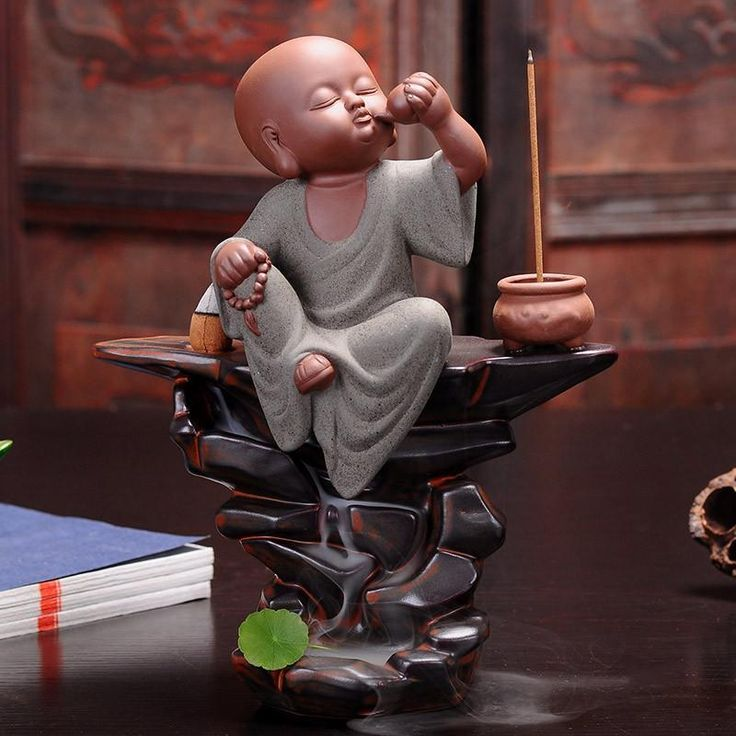 Large Boutique Redware Young Monk Monk Backflow Incense Burner Furnishing Articles Joss Stick Inserted Zen Tea Pet Ceramic      #香炉#incense burner#Quemador de incienso#Благовонная горелка#Br?leur d'encens#moylor