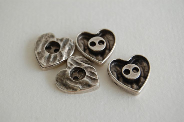 Metal Buttons – metal heart button – a unique product by thesecretgarden on…
