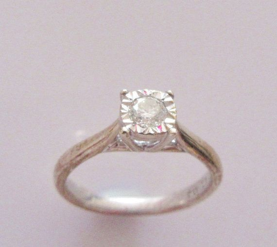 9ct Gold Diamond Solitaire Ring Size M 1/2 by Britishgoldandsilver