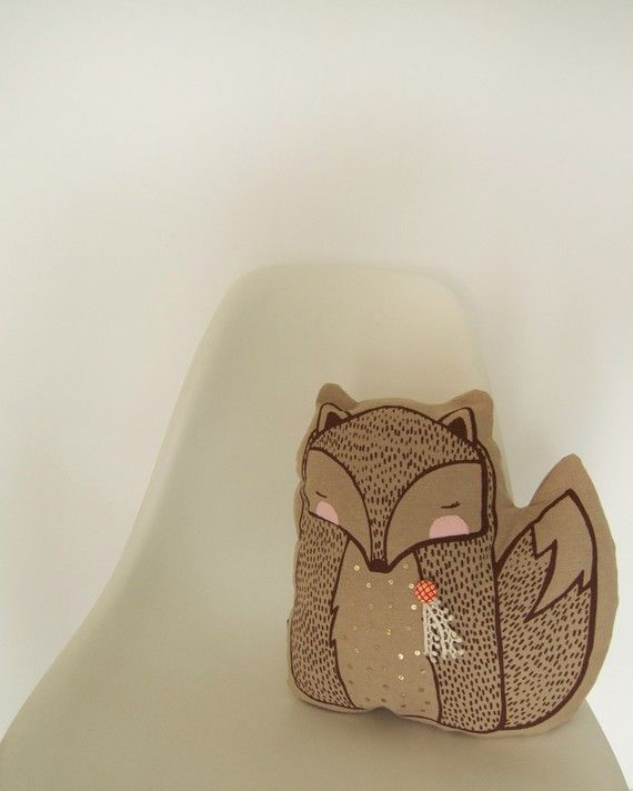 Fox contemporary scandi style plushie cushion illustration screen print design