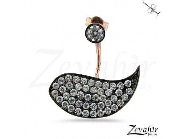 Taşlı Kuş Modeli Pirsing Küpe (TEK) 925 Ayar Gümüş