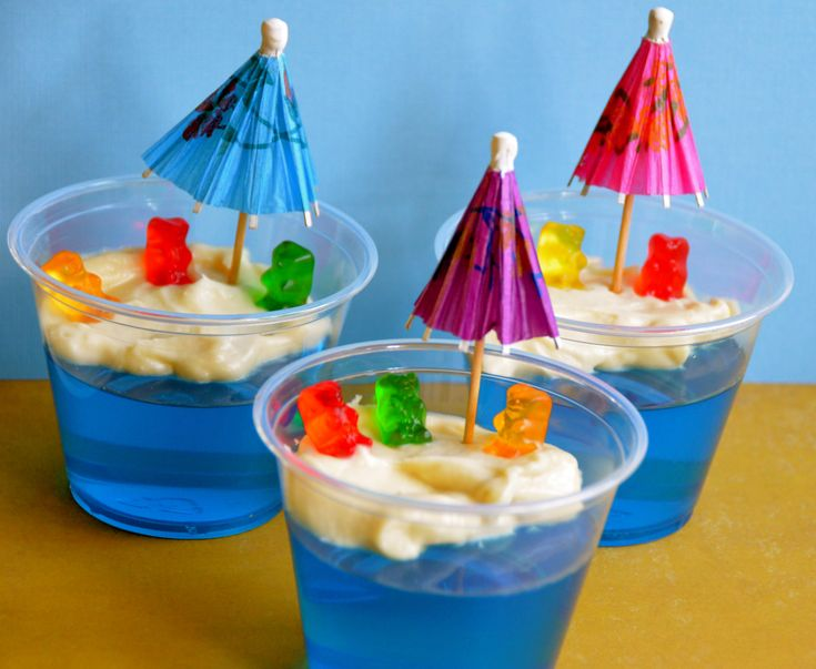 Jello Sand Cups | Short And Sweet. Jello Custard Bears At The Beach.