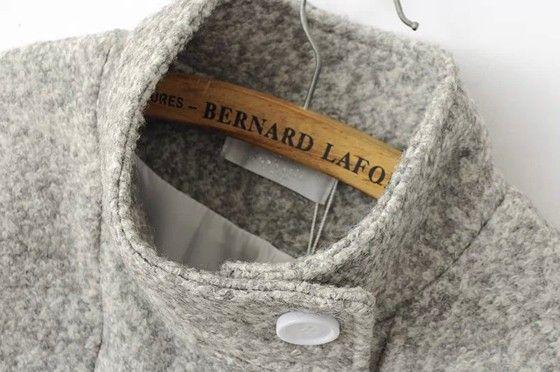 Grey Plain Pockets Band Collar Tweed Coat