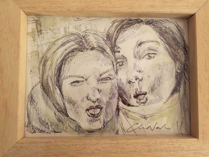 Friends, faces and happyness- black pen drawing and watercolors by Chiara Nardo