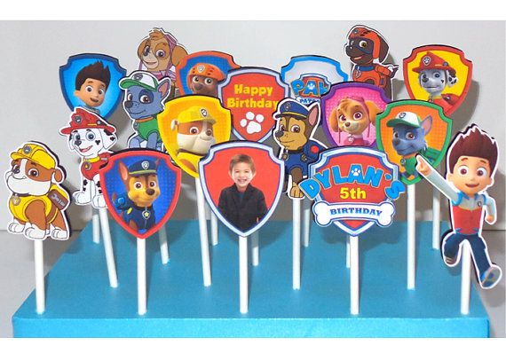 24 Paw Patrol cupcake toppers - Personalized toppers included - add childs photo, name no additional charge $14.99