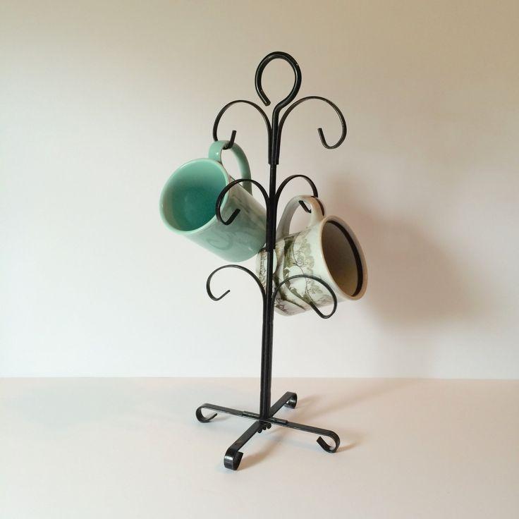 Vintage Black Metal Coffee Mug/Cup Tree Stand, Jewelry Tree Stand, Jewelry…