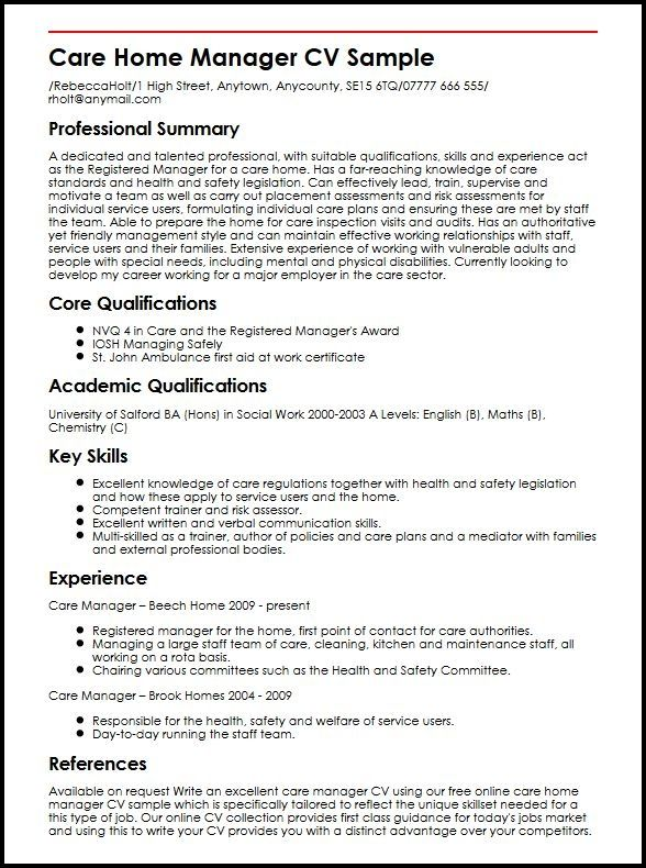 Care Home Manager Cv Sample Myperfectcv Job Resume Examples Hr Management Cv Examples
