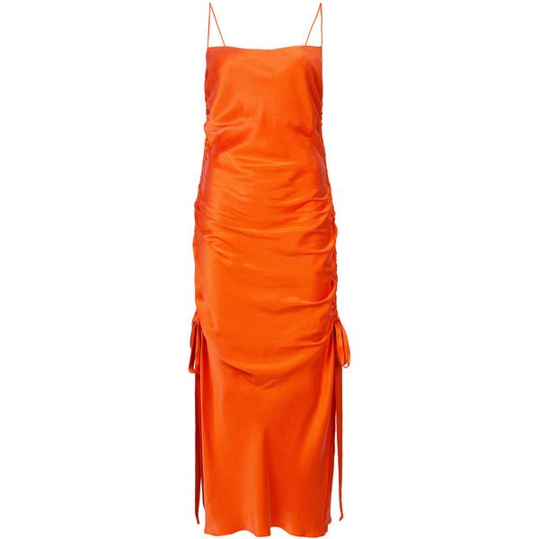 Zimmermann ruched slip dress (860 AUD) ❤ liked on Polyvore featuring dresses, laced dress, orange dress, long slip dress, side slit dress and long silk dress