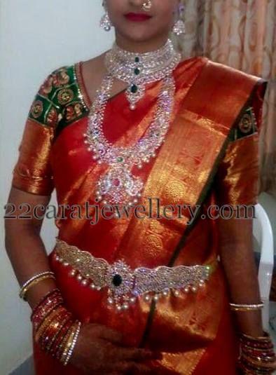 Telugu bride Jewellery Designs: Tremendous Sparkling Diamond Sets