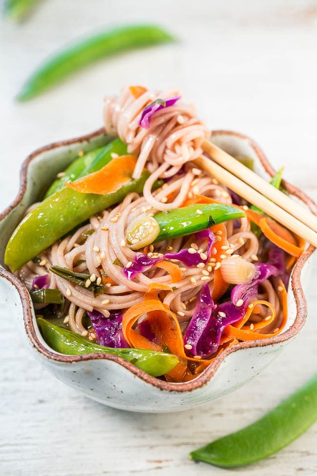 15-Minute Skinny Vegetable Soba Noodles - Comforting noodles in an Asian-flavored broth with crisp-tender veggies!! An easy and filling recipe that'll help you fit into your skinny jeans without sacrificing flavor!!