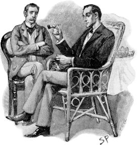"""Sherlock Holmes (r) and Dr. John H. Watson. Illustration by Sidney Paget from the Sherlock Holmes story The Greek Interpreter, which appeared in The Strand Magazine in September, 1893. Original caption was """"HOLMES PULLED OUT HIS WATCH."""""""
