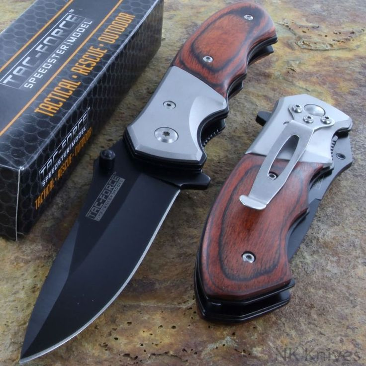 Combat Pocket Knife Pakkawood Overlay Handle Tac Force Spring Assisted NEW K14 #TacForce