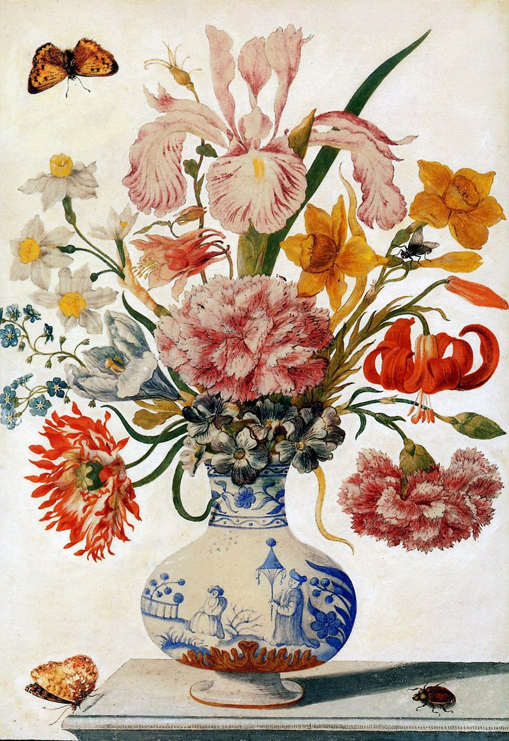 """Maria Sibylla Merian, German, Spring Flowers in a Chinese Vase, 1680, Hand-colored engraving in The New Book of Flowers, 12-13/16 x 8-3/8"""", Trustees of the Natural History Museum, London."""