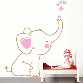 """Adesivo murale per bambini Wall Art """"Elefantino gigante"""" - Misure 106x130 cm - Decorazione parete, adesivi per muro, carta da parati: Amazon..."""