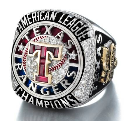 This is a 3D image of the Texas Rangers Championship Ring. The amount of diamonds in the ring is insane and I love it so much because this signifies the Rangers first American League pennant.