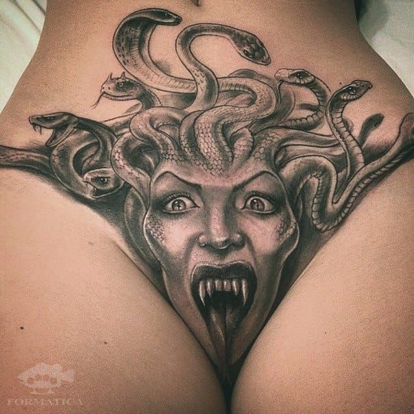 Medusa tattoo with an interesting placement medusa crotch tattoo