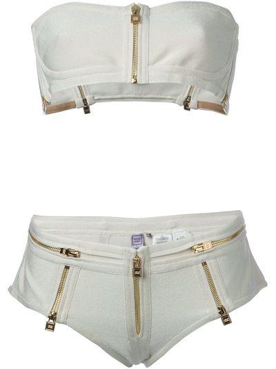 HERVÉ LÉGER Zip Detailed Bikini