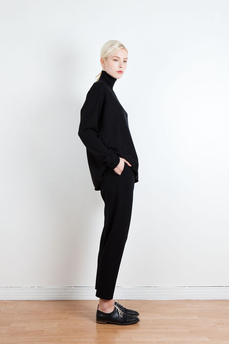 Arela | Cleo pipe neck cashmere sweater and Mille merino trousers.