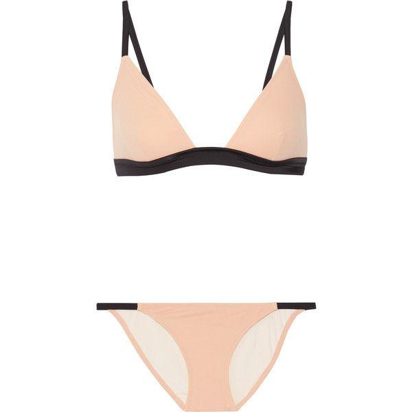 Solid and Striped The Morgan triangle bikini ($125) ❤ liked on Polyvore featuring swimwear, bikinis, swimsuit, beige, padded underwire bra, triangle bikinis, bathing suits two piece, triangle swimsuit and swim suits