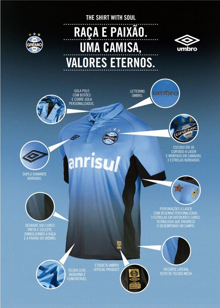 O Grêmio lança a sua terceira camisa da temporada 2015, produzida pela marca inglesa Umbro, fornecedora de materiais esportivos do Clube.