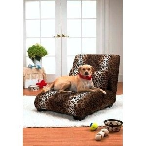 One way to keep Fido off the furniture: buy him his own stylish chaise, couch, or chair!: Dogs Beds, Elliot Chaise, Pets, Pet Chai, Pet Beds, Leopards Prints, Dogs Chai, Homes, Products
