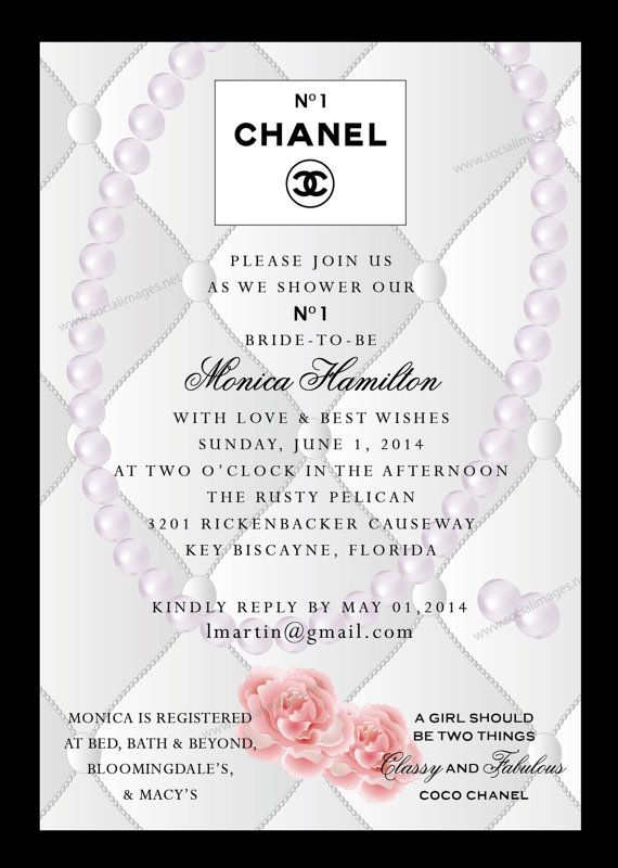 Chic Chanel Inspired Custom Invitations By Socialimagesinc On Etsy 44 00