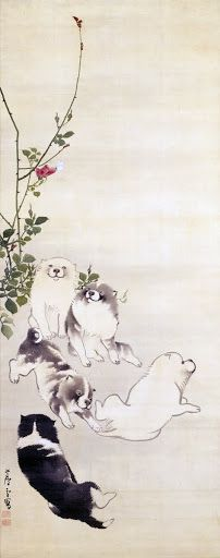 Roses, Butterfly and Puppies. Japanese hanging scroll.  Nagasawa Rosetsu. latter half of the 18th century. Aichi Prefectural Museum of Art