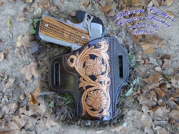 Custom Holster, Holster, 1911 Pancake Holster, Molded Holster, Tooled leather holster by DannyCollinsLeather on Etsy