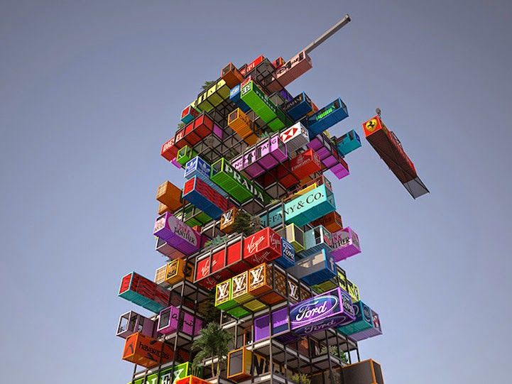Jenga-Like Hotel Idea Uses Shipping Containers as Rooms