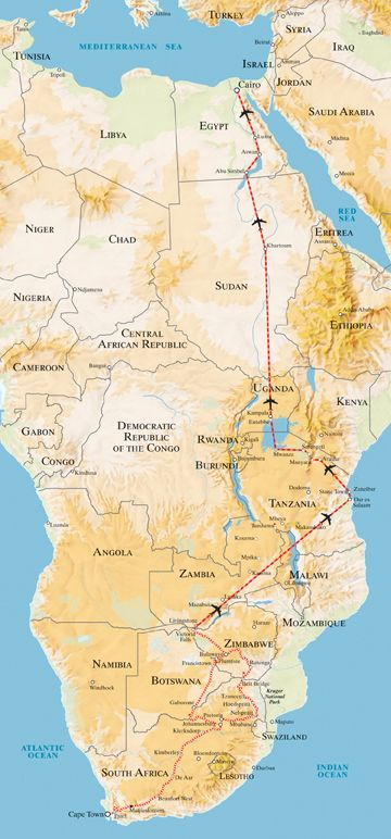 Cape to Cairo Train | Rovos Rail has designed the ultimate African experience for this exclusive five-star journey, which includes the incomparable luxury of the Pride of Africa and a comfortable aircraft. This 28-day expedition will carry an elite band of intrepid adventurers through the heartlands of South Africa, Botswana, Zimbabwe, Tanzania, Uganda, the Sudan and Egypt.