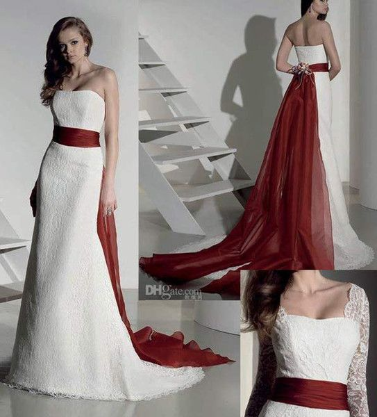 White And Red Wedding Gowns: Modest White Wedding Dress A Line Wine Red Organza Sash